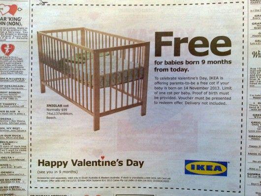 Ikea versprach am Valentinstag jedem Baby ein Gratisbett, das neun Monate später das Licht der Welt erblickt.