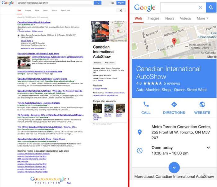 Links Desktop, rechts Mobile: Der Knowledge Graph wandert von der rechten Ecke in die Mitte der SERP, © Mediative