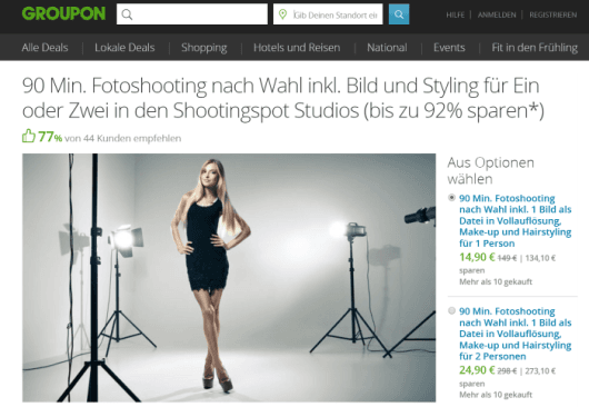 Screenshot Groupon.de
