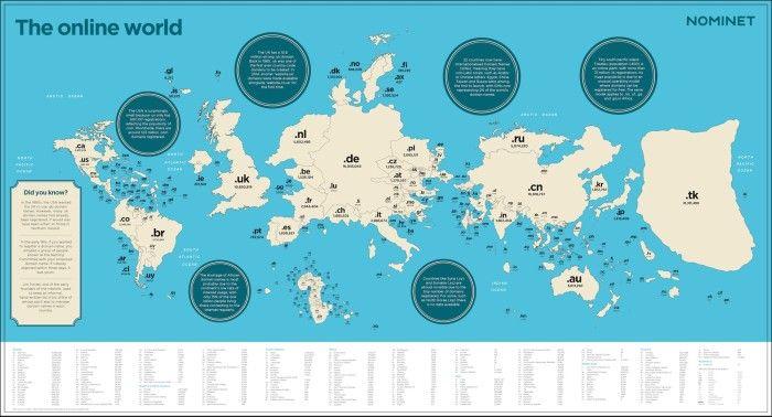 Die Welt gemessen an den registrierten Top-Level-Domains, © Nominet