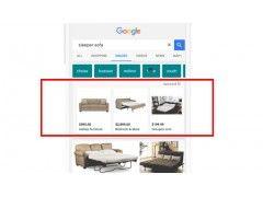 """Mobile Bildersuche nach """"Sleeper Sofa"""" und die neuen PLAs, © Google"""