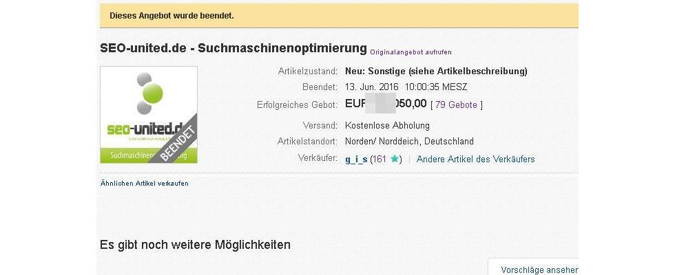 SEO-united.de unterm Hammer: Stolzer Verkaufspreis zum Auktionsende