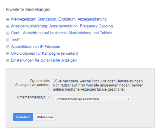 AdWords Kampagne dynamic remarketing aktivieren