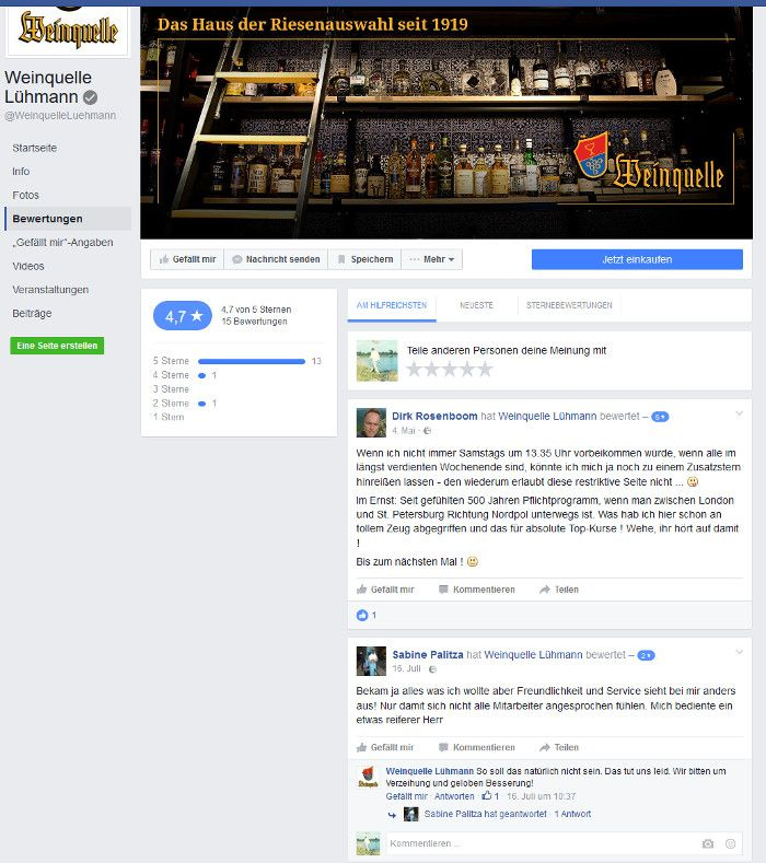Review auf Facebook, Quelle: Facebook.com