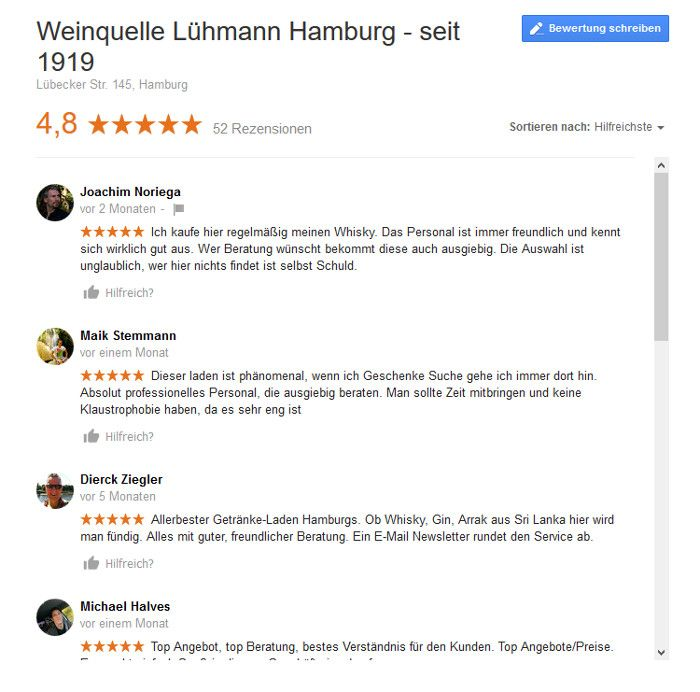 Review auf Google, Quelle. Google.de