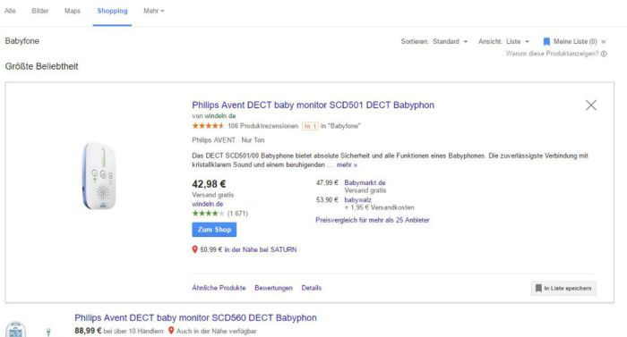 Google Shopping Suche nach 'Babyphon' / Screenshot Google