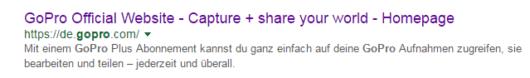 GoPro Google Organic