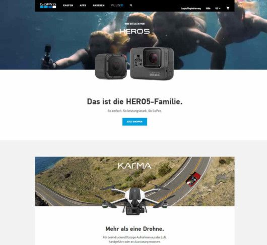 Storytelling GoPro Website