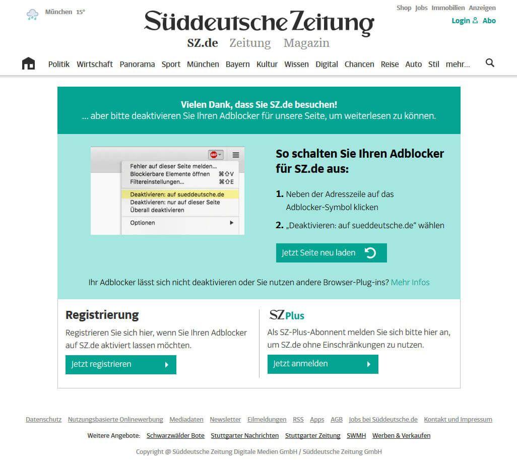 Die Süddeutsche bittet User, den Adblocker zu deaktivieren, Quelle: sueddeutsche.de