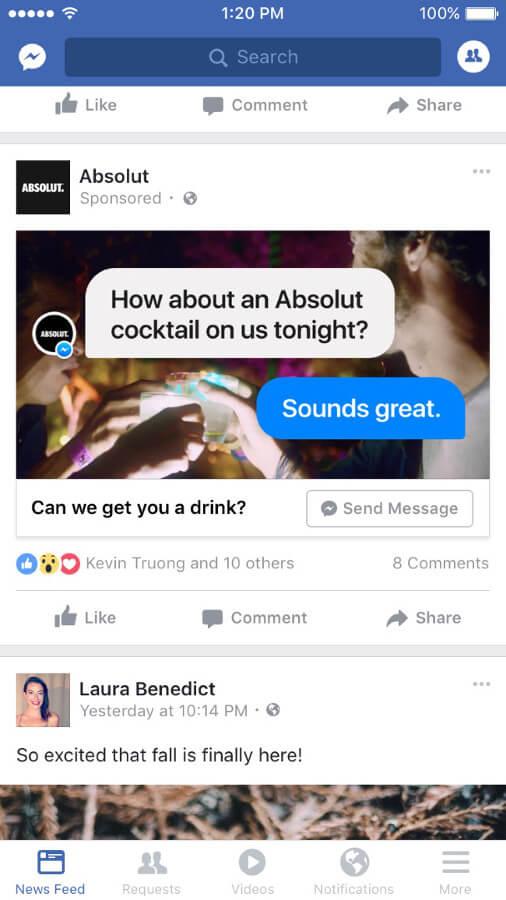 Absolut wirbt mit einer Newsfeed Messenger Ad