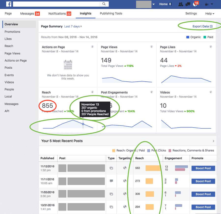 Die Reichweite im Dashboard wurde falsch berechnet (roter Kreis), Quelle: Facebook