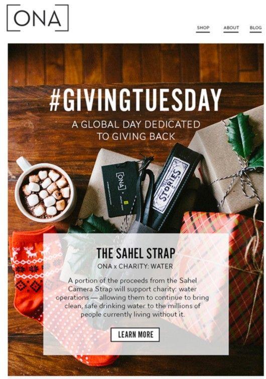 Die Kampagne lautete: Einen Kamera-Gurt erwerben, anteilig spenden und ein Foto vom erhaltenen Produkt mit dem Hashtag #Givingtuesday auf Instagram posten © ONA