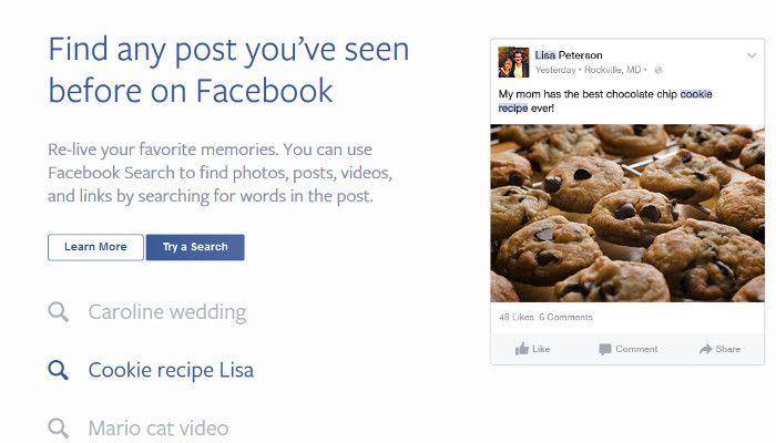 Suche nach beliebigem Post, dank Keywords, © Facebook