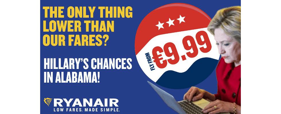 Trump und Hillary Ads: Ryanair glänzt mit humorvoller Bannerwerbung