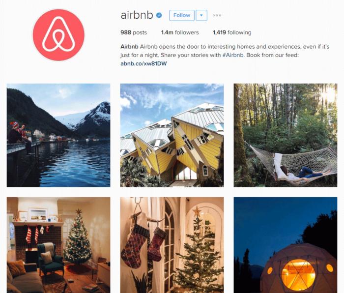 Airbnb veröffentlicht nur kuratierte Userfotos aus echten Unterkünften © Instagram