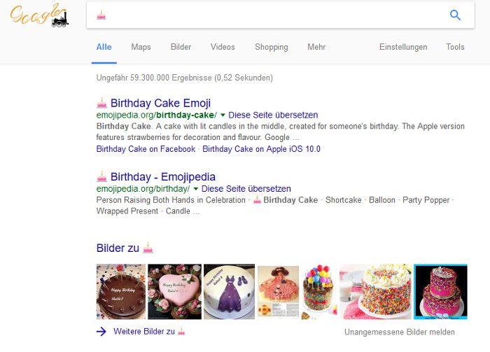 Suchergebnisse bei Google über die Eingabe eines Emoji, Quelle: Screenshot google.de