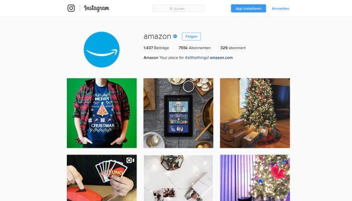 Amazon bei Instagram – auch im Weihnachtsmodus, Screenshot Instagram