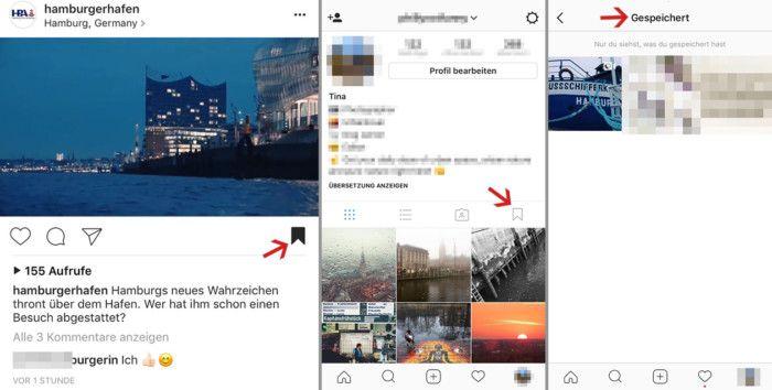 Die Lesenzeichen-Funktion ermöglicht das einfache Speichern von Beiträgen. Die Bilder sind dann in einem eigenen Bereich im Profil zu finden, auf den nur der User selbst Zugriff hat.