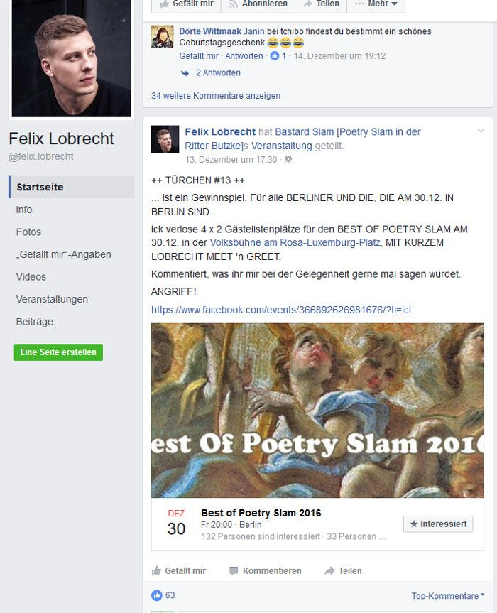 Felix Lobrechts Facebook Adventskalender, Screenshot Facebook