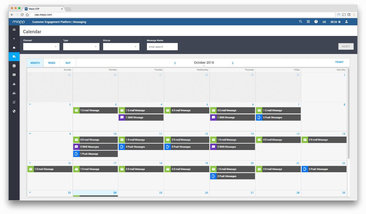 Ein Blick in den Kalender der Customer Engagement Platform von Mapp