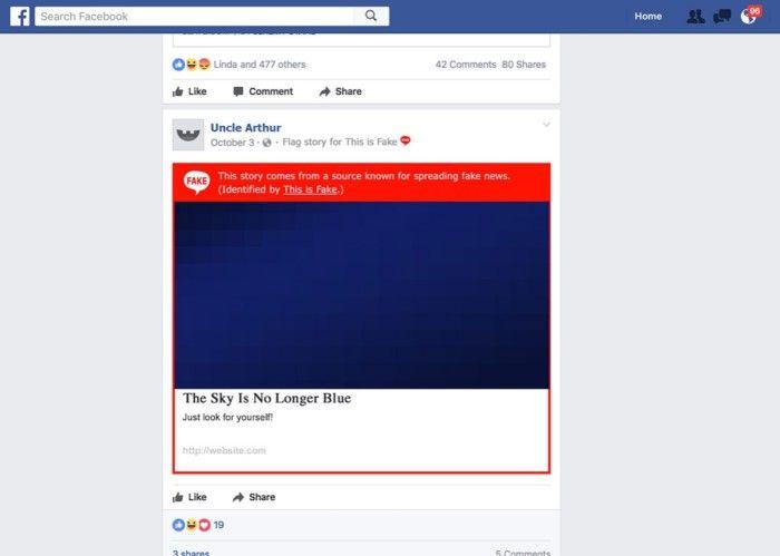 """Die """"This is Fake""""-Browser Extension markiert Fake Stories und führt auf eine seriöse Website. © Slate"""