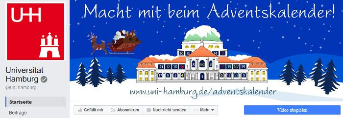Call-To-Action Button bei der Facebook-Seite der Uni Hamburg, Quelle: Screenshot facebook.de