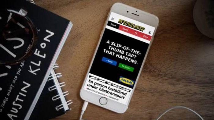Der Verweis auf ein versehentliches Anklicken der Banner Ad von IKEA, © IKEA