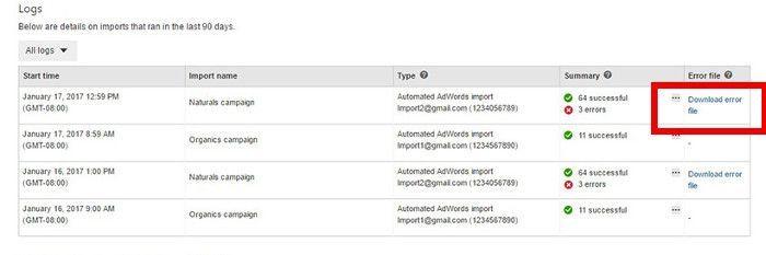 Error-Datei zum Download bei fehlerhaften automated Imports bei Bings Ads, Screenshot bingads.microsoft.com