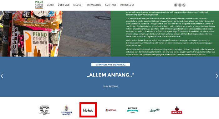 Screenshot pfand-gehoert-daneben.de