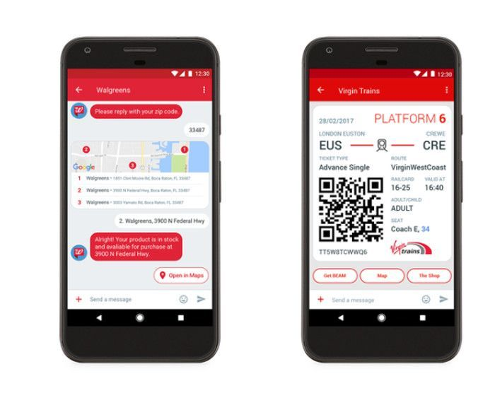 Android Messages Nutzung durch Walgreens und Virgin Trains, Screenshot The Verge