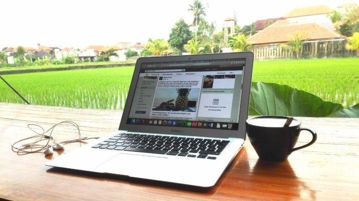 Ausblick auf die für Bali typischen Reisfelder in einem Co-Working-Space in Ubud.