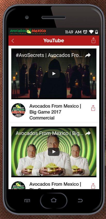 Die Möglichkeit, die Spots direkt bei YouTube zu sehen bietet mehr Interaktion für Avocados from Mexico, © Avocados from Mexico