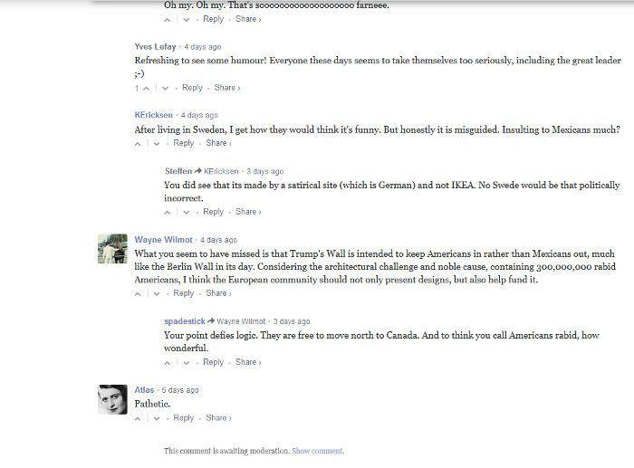 Kommentare beim englischen Design-Magazin dezeen zum Börder Wåll, Screenshot, dezeen