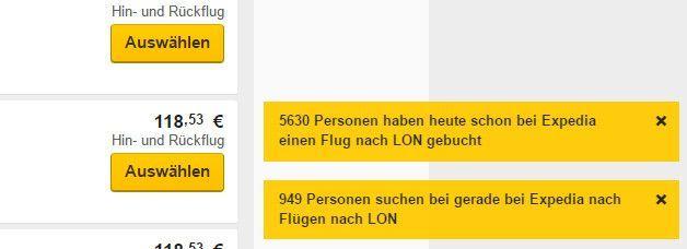 Das Travelportal Expedia setzt auf Dringlichkeit (man möge die fehlerhafte deutsche Übersetzung verzeihen), Screenshot Expedia.de