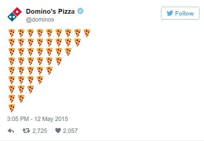 Domino's Emojis Marketing mit Pizzen, Screenshot Econsultancy