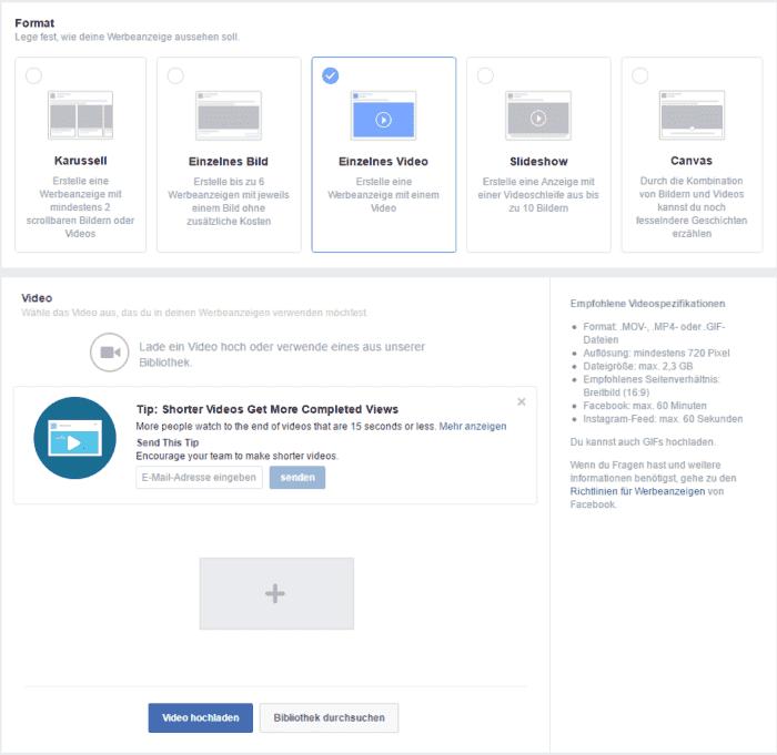 Facebook Ads Manager Gif einbinden