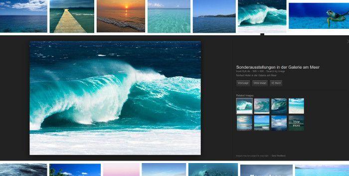 Das neue Interface bei Google Images, Screenshot Google