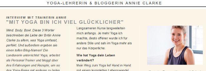 Ein Interview mit Yoga Lehrerin Annie Clarke bei Zalando, Screenshot Zalando