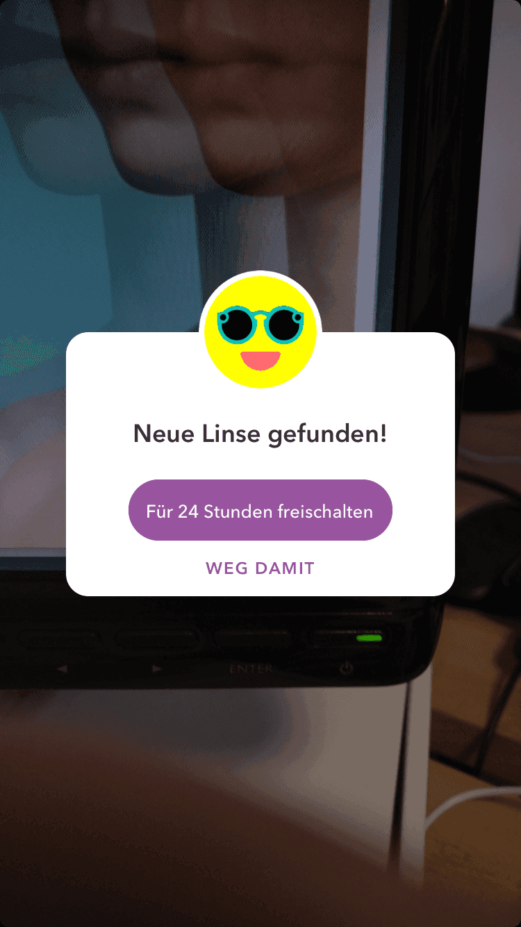 Spectacles Linse auf Snapchat