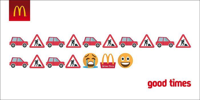 Assoziative Emojis bei McDonald's, Screenshot SEOPressor