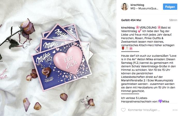 Influencer Kampagne von Milka zum Valentinstag