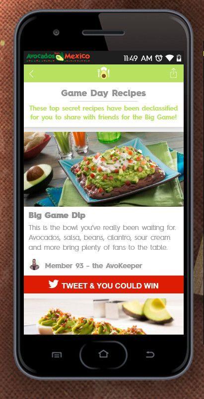 Die Rezept-Rubrik mit dem Hinweis auf Gewinne bei Avocados from Mexico, © Avocados from Mexico