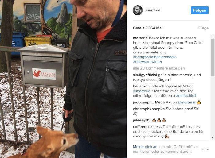 Der Obdachlose Jürgen versorgt seinen Hund Snoopy bei der Berliner Tafel, © Instagram - Marteria