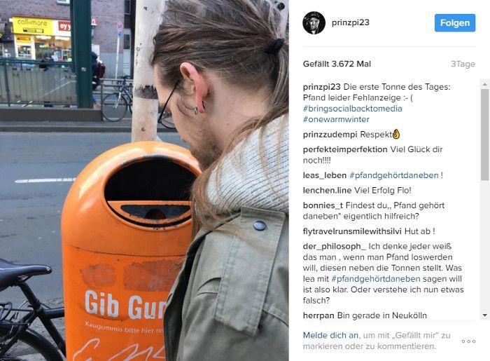 Flo beim Flaschensammeln, © Instagram - pinzpi23