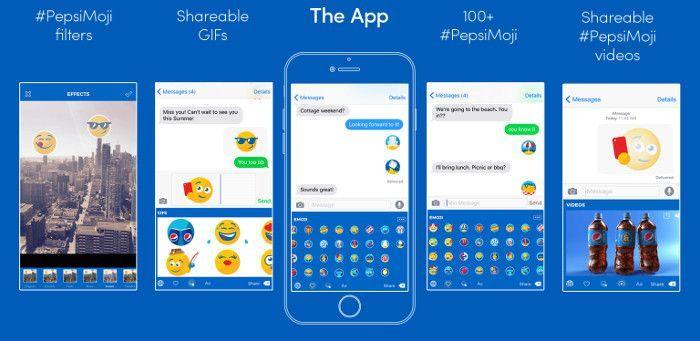 Die Nutzungsoptionen für PepsiMojis, Screenshot Sayitwithpepsi