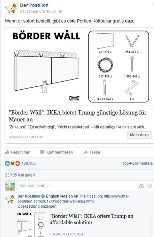 Die Popularität des des Postillon-Artikels auf Facebook, Screenshot Facebook