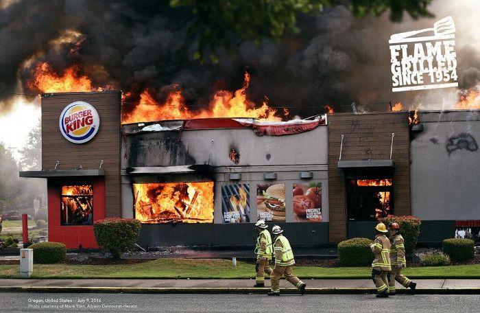 Der für die Werbung instrumentalisierte Brand eines Burger King in Albany© David the Agency