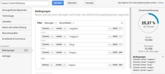 Google Analytics - Segmente - Custom - Organic Content Marketing