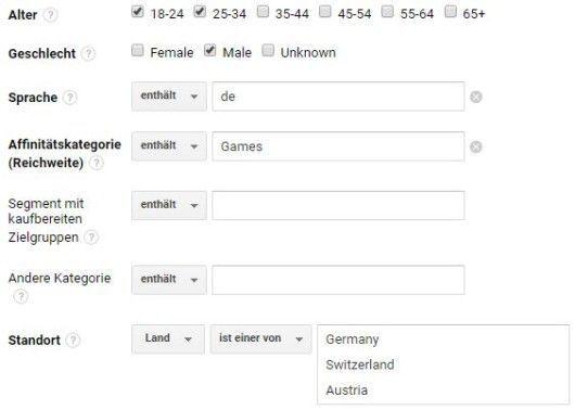 Google Analytics - Segmente - Custom - Zielgruppe