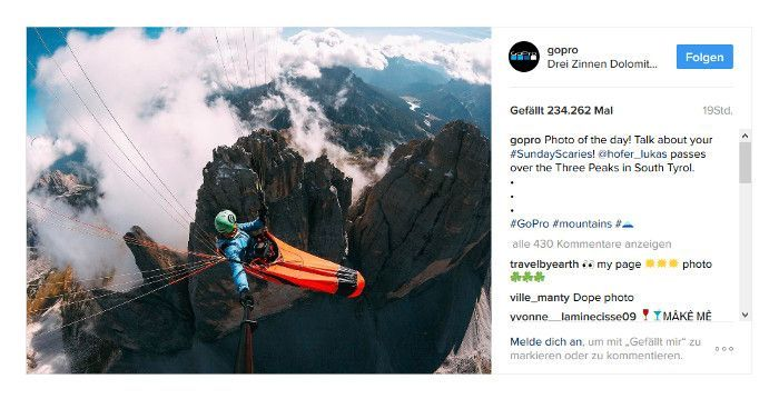User Generated Content auf bei Go Pros Seite auf Instagram, Screenshot Instagram